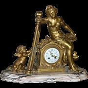 Original Period French gilded Bronze figural palatial mantel clock, cherub playing harp, stunning, circa 1880