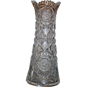 Exquisite American Brilliant cut glass tall vase, ABP, circa 1905, signed Horhe, 13 inch,excellent condition