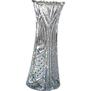 Exceptional american Brilliant cut glass vase, circa 1905, ABP, pattern 8019, signed and documented by J.Hoare, 12 inches, excellent condition
