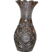 American Brilliant Giant cut glass bowling pin vase,14 inches, signed J.HOARE, amazing museum piece, perfect condition
