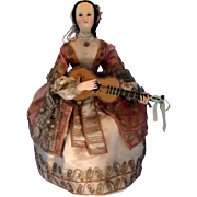 Automaton French Musical CA 1860, Elegant Dancing Lady with Guitar by Theroude, Provenance