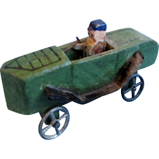 Antique Miniature Wooden Car with Driver
