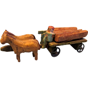 Antique Miniature Wooden Lumber Wagon with Horses and Driver
