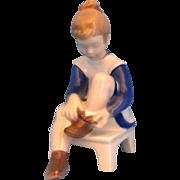 Bing & Grondahl B&G Vintage 2373 Girl Putting on Shoes Blue & White Figurine