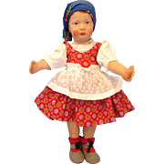 "Pouty 12"" Antique Oilcloth German Art Doll by Gebruder Bing c1913"