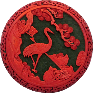 Superb Signed Chinese Cinnabar Crane Bird Scholars Seal Paste Box Fine Art