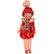 """3"""" All Bisque Flapper Child Doll in Original Romper by Hertwig"""
