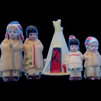 Antique German Bisque Indian Play Set