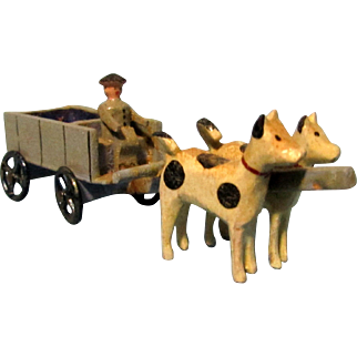 Antique Miniature Wooden Cart with Oxen