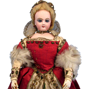 French Bisque Poupee Doll by Jumeau in Original Royal Historical Silk Costume