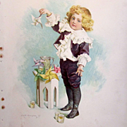 MAUD HUMPHREY 1897 Lithograph Young Boy with Pin Wheel - Frederick A. Stokes & Brother