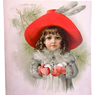 MAUD HUMPHREY 1888 Lithograph Young Girl with Snowballs - Frederick A. Stokes & Brother
