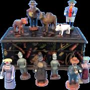 Antique Miniature Village Dolls in Wooden Trunk