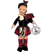 Vintage Tagged Norah Wellings Scots Girl Cloth Doll Tartan Scotland