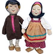 Russian Soviet Stockinette Cloth Dolls - Vanka and Tanka - Boy Girl