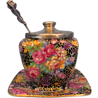 Royal Winton Hazel Chintz Jam Pot with Sterling Spoon and Under Plate