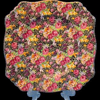"""Vintage Royal Winton Grimwades Chintz Hazel 9"""" Square Plate Fabulous Condition!"""