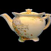 1930's Vintage Royal Winton Athena Shaped Large Yellow Morn Teapot
