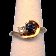 14 Karat Gold Blue Sapphire and Diamond Custom Ring