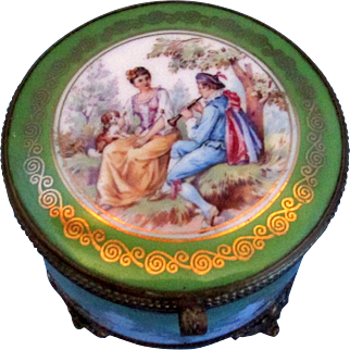 Antique Powder Box with Mirror - Courting Couple