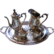 Victorian Rose Wm Rogers Service Set Tea Pot Water Pitcher Creamer Sugar & Tray