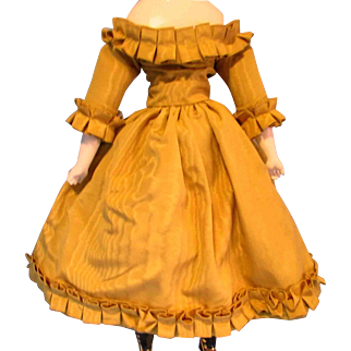 Lovely Vintage French Fashion Gold Moire Fabric Doll Dress