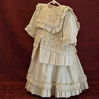 Beautifully Designed Battenburg Lace Dress with Jacket-Excellent Condition
