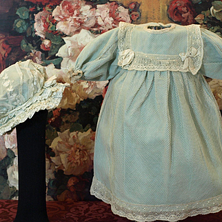 Antique Dress with Beautiful Complimentary Antique Bonnet for French or German Doll