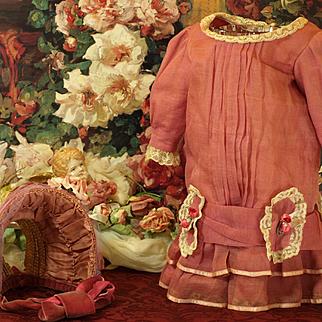 A Pretty Drop Waist Fuscia Vintage Dress with Complimentary Straw Bonnet