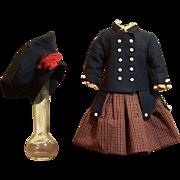 Excellent Antique 19th Century Ensemble for the Antique Doll- Jacket- Beret and Dress