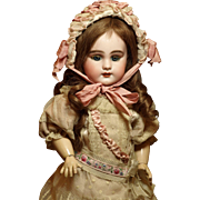 Antique French Petite Bebe wearing a Gorgeous Antique Dress and a Lovely Bonnet ♥♥