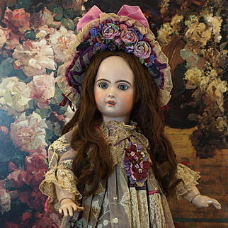 Gorgeous Violet Couture Ecru Lace Dress with High Brim Bonnet For French or German Antique Doll