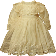 Antique Tulle Embroidery Eyelet Doll Dress -In Wonderful Condition