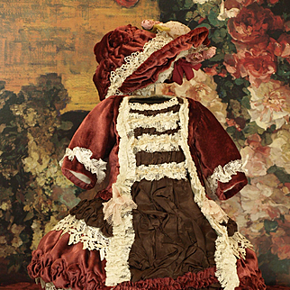 Elaborate Couture Burgandy Velvet and Satin Costume with Matching Bonnet  ♥♥