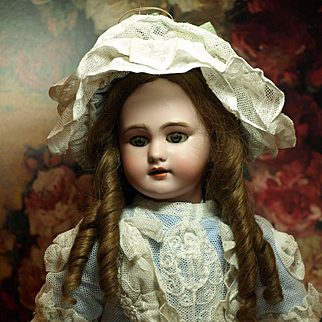French Bebe with Beautiful Couture Costume-Antique Human Hair Wig
