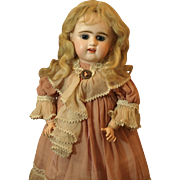 "Antique Ash Blond Mohair Wig- A 19th Century wig- Modeled on a 19"" Antique Etienne Denamur"