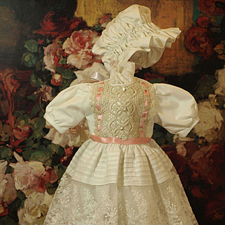 Lovely Doll Dress Made Entirely out of Antique Material -Adorable Matching Bonnet