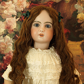 Antique Extra Long Brown Human Hair 19th Century Wig - for Bru, Steiner, Jumeau, French or German Doll