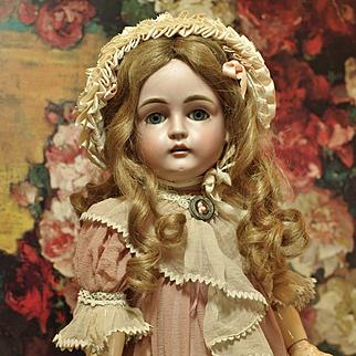Antique Kestner Doll with Human Hair Lashes-Beautiful Blue Sleep Eyes-Antique Human Hair Wig