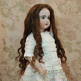 19th Century Long Human Hair Wig with Lots of Beautiful Spiral Curls