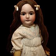 Beautiful German Kestner Antique Doll-Large Brown Sleep Eyes-Exquisite Dress - Antique Long Brown Human Hair Wig -Antique Shoes ♥ ♥