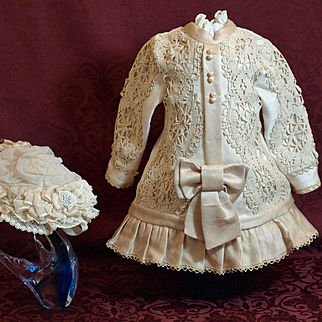 Beautiful Drop Waist Dress with Crochet Lace -With Decorative Hat