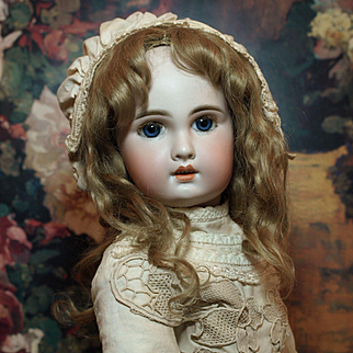 Jumeau Bebe size 10-Gorgeous Blue Paperweight Eyes-Antique Mohair Wig-Original Antique French Shoes with Rosettes ♥♥