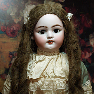 Antique Simon and Halbig Doll from the  Early 1900's-Fabulous Antique Human Hair Wig-Lovely Lace Drop Waist Dress ♥♥