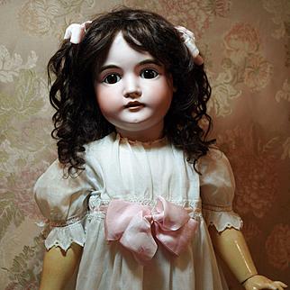 """Large Antique Kestner Doll-28"""" tall-Beautiful Deep Brown Sleep Eyes -Lovely Dark Brown Mohair Wig ♥♥"""