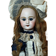 Beautiful Antique French DEP Doll -Gorgeous Deep Blue Sleep Eyes -Elaborate Costume with Matching High Brim Bonnet ♥♥