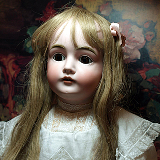 For WL - Antique German Kestner Doll- Jessica -Deep Brown Sleep Eyes and Lovely Lace Dress ♥♥