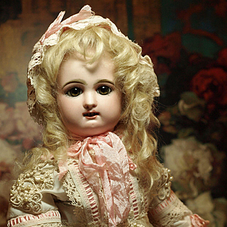 French Bisque Bebe Rabery & Delphieu (1856-1899) Cabinet Size-Rare With Two Rows of Delicate Teeth ♥♥
