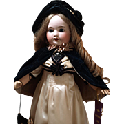 Adorable Antique French Doll with First Place Ribbon -Antique Velvet Bonnet with Matching Cape ,Purse and Cream Satin Dress ♥♥