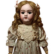 Adorable Heinrich Handwerck Antique German Doll-Large Brown Sleep Eyes-Pretty Flower Dress with Embroidery Lace♥♥